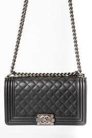 Chanel Medium Boy Bag with Black Quilted Calfskin