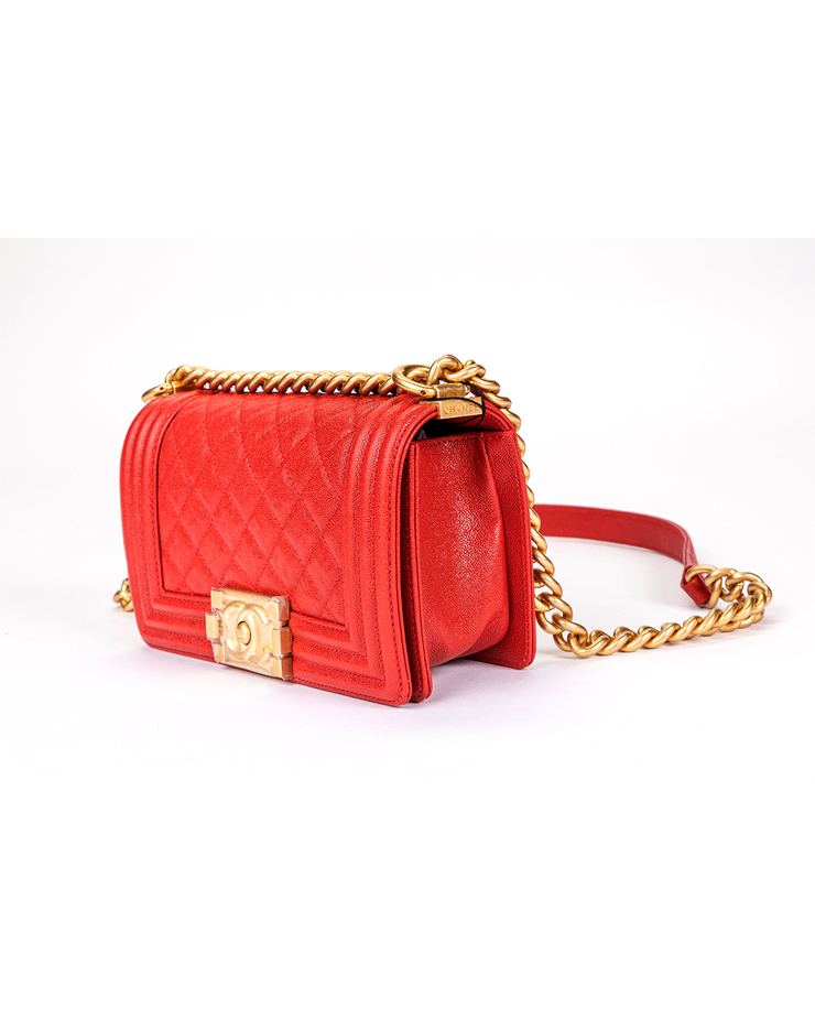 Chanel Boy Bag with Quilted Grained Calfskin Red Leather