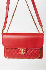 Chanel Unchained Flap Bag with Dark Red Lambskin