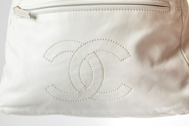 Chanel 2-Way Hobo Shoulder Bag with White Lambskin Leather