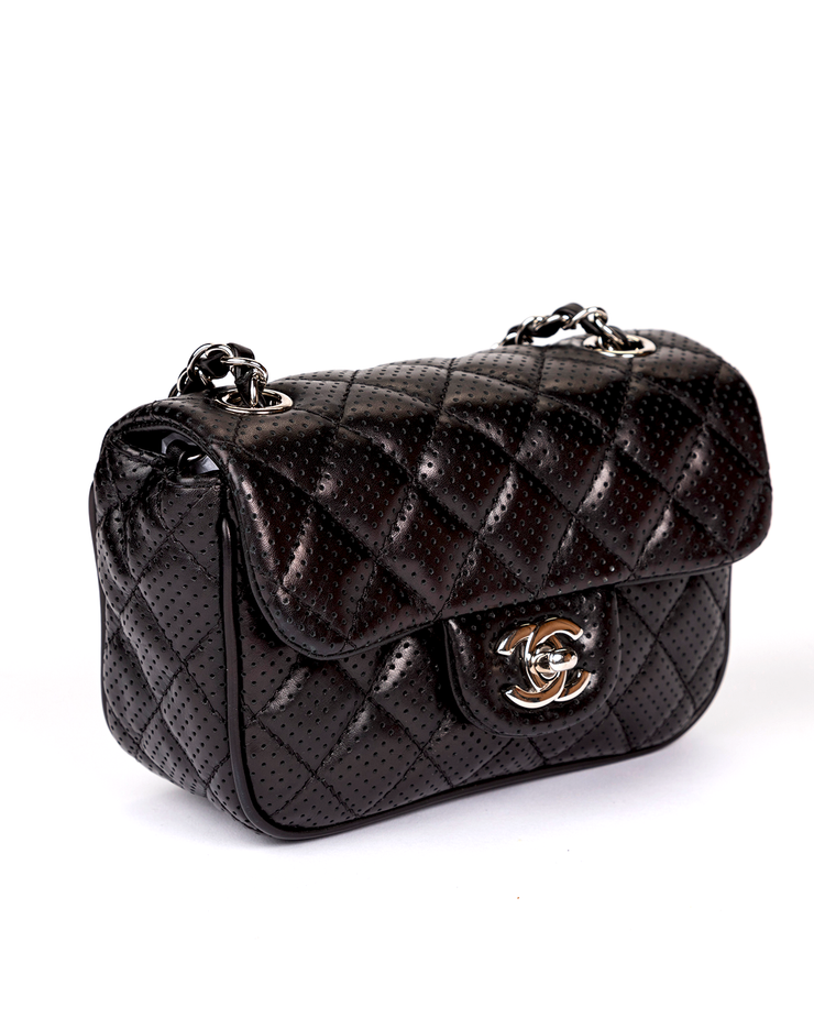 Chanel Flap Bag with Black Perforated Lambskin Mini