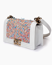 Chanel Boy Handbag with White Chevron Embroidered Calfskin