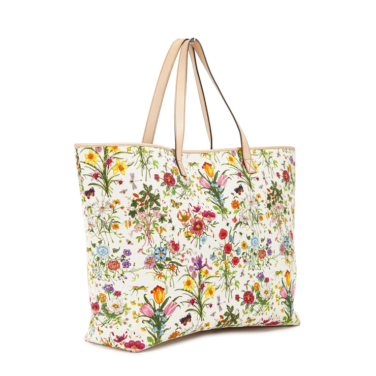 Gucci Flora Floral Jolicoeur Large Tote Bag with White Canvas