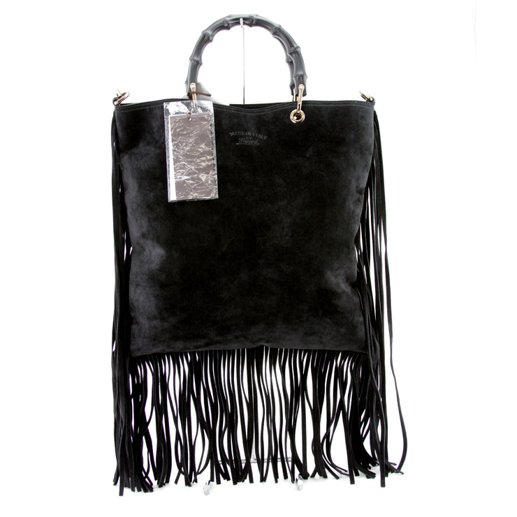 GUCCI Black Bamboo Handle Suede Fringe Shopper Tote