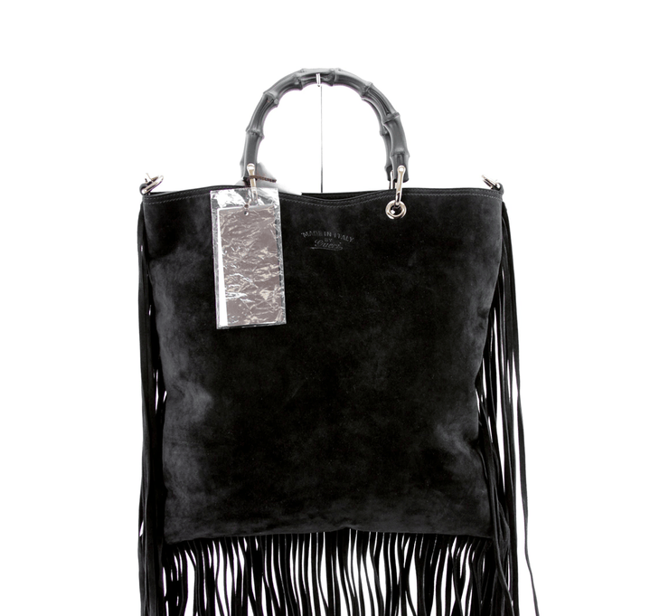 Gucci Suede Fringe Black Shopper Tote with Bamboo Handle