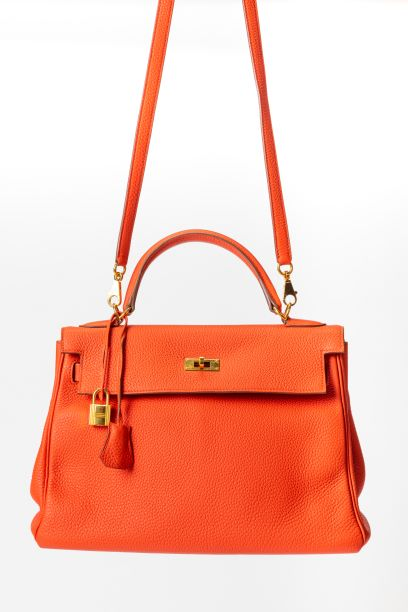 Hermes Kelly 32 Top Handle with Orange Togo Leather