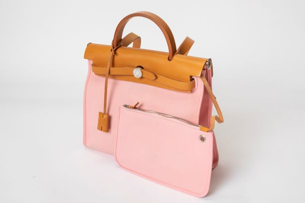 Hermes Vache Hunter Herbag Zip 31 PM with Pink Toile
