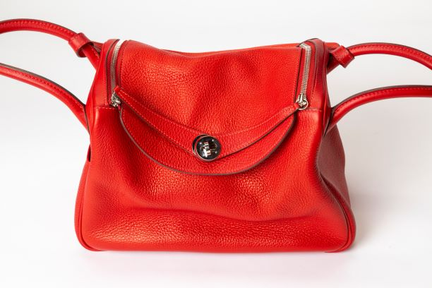 Hermes Lindy 30 Shoulder Bag with Red Togo Leather