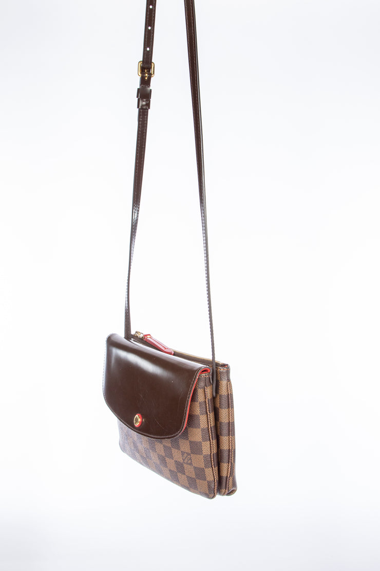 Louis Vuitton Twinset Twice Cross Body Bag with Damier Ebene