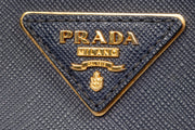 Prada Galleria Double Zip Medium Tote Bag in Blue Saffiano Leather