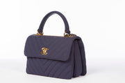 Chanel Navy Blue Trendy CC Flap Bag with Quilted Chevron