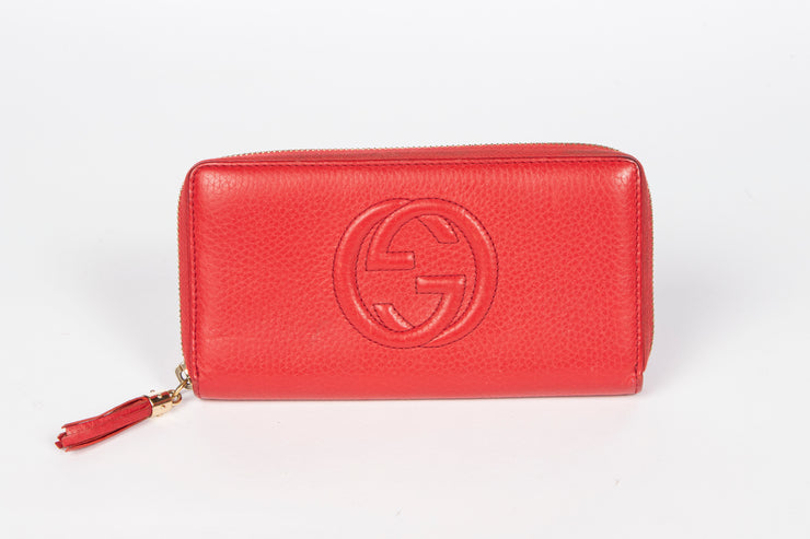 Gucci Red Soho Cellarius Zip Around Long Wallet with GG Logo