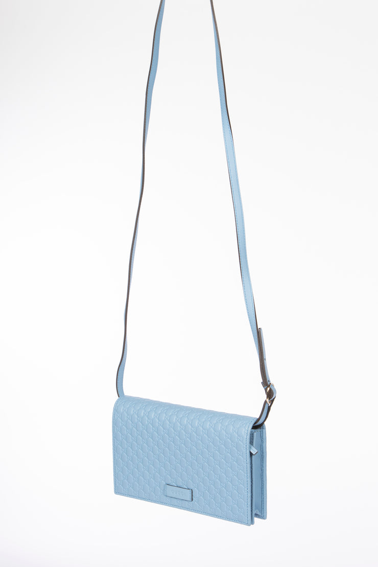 Gucci Microguccissima Cross Body Wallet with Blue GG Leather
