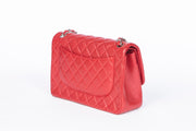 Chanel Red Double Flap Bag with Quilted Caviar Leather