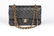 Chanel Small Double Flap Bag with Black Quilted Caviar