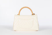 Chanel Lizard Coco Handle Flap Bag with Off White Calfskin