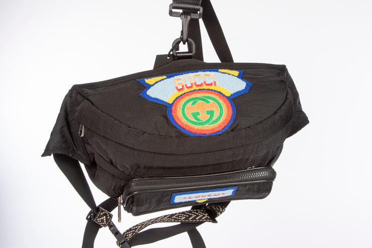 Gucci Men's Belt Bag with Gucci '80s Patch in Black