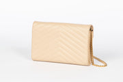 YSL Beige Envelope Wallet on Chain with Grain de Poudre Leather