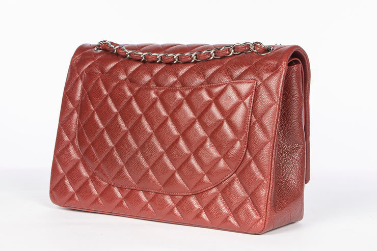 Burgundy Chanel Double Flap Bag with Quilted Caviar Leather
