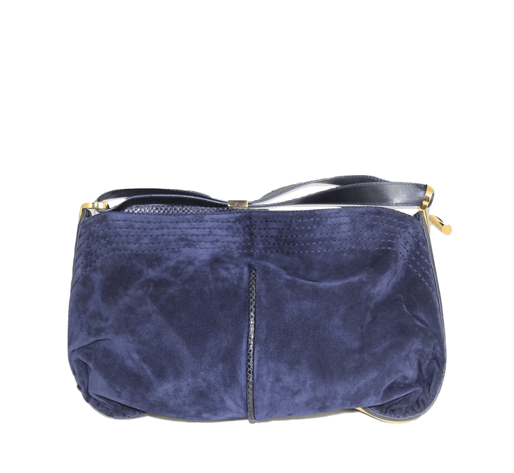 Jimmy Choo Python Trim Ayse Shoulder Bag with Blue Suede