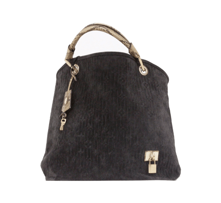 Louis Vuitton Kohl Whisper Suede Handbag with Python Handle