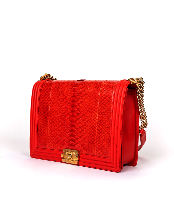 Chanel Boy Bag with Red Python Leather