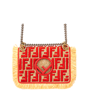 Fendi Kan I Raffia Shoulder Bag with Straw Calfskin Trim Red