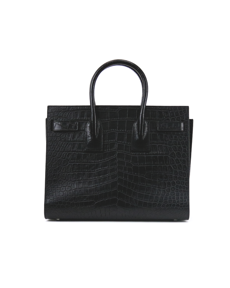 YSL Sac de Jour in Black Crocodile Embossed Calfskin Shiny Leather