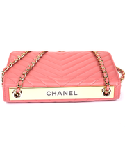 Chanel Trendy CC Wallet on Chain with Pink Chevron Leather