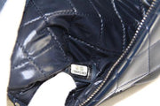 Chanel Flap Clutch Bag with Navy Blue Quilted Patent Leather