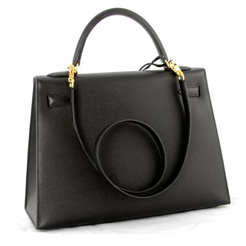 Hermes Kelly Sellier 32 Handbag with Black Epsom Leather