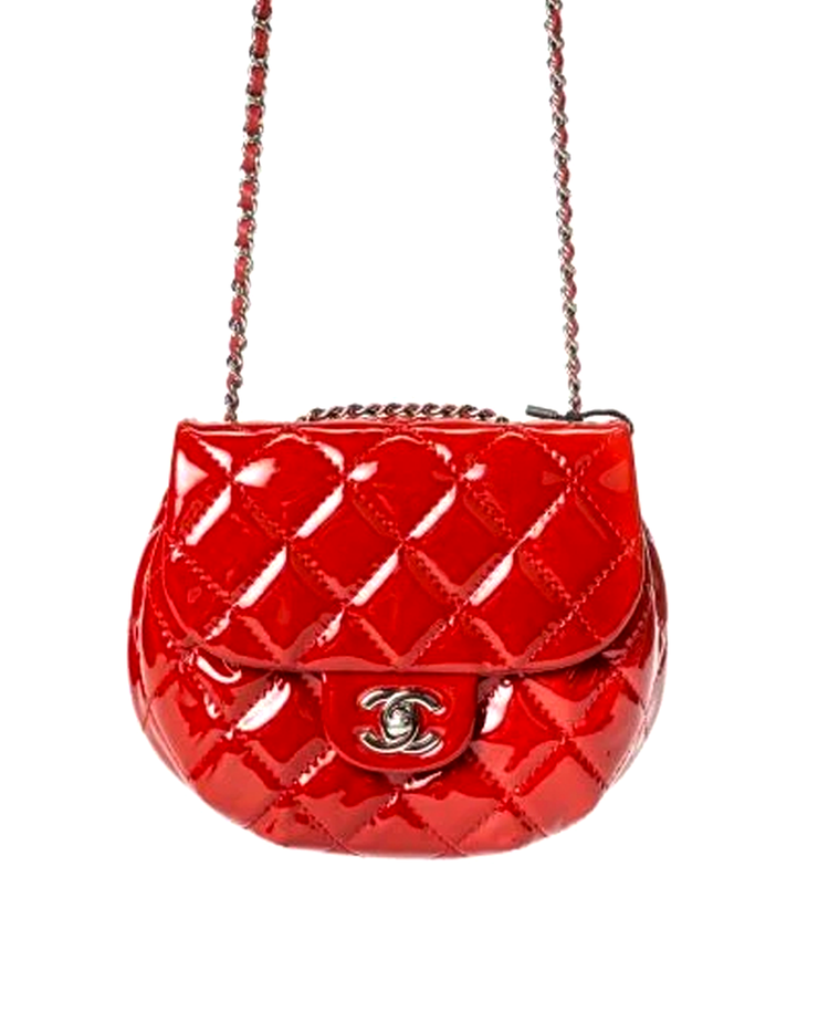 Chanel Flap Bag with Red Patent Leather