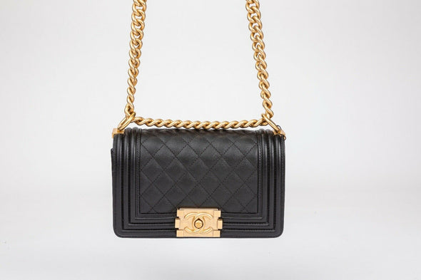 Chanel Boy Flap Bag with Diamond Quilted Black Calfskin