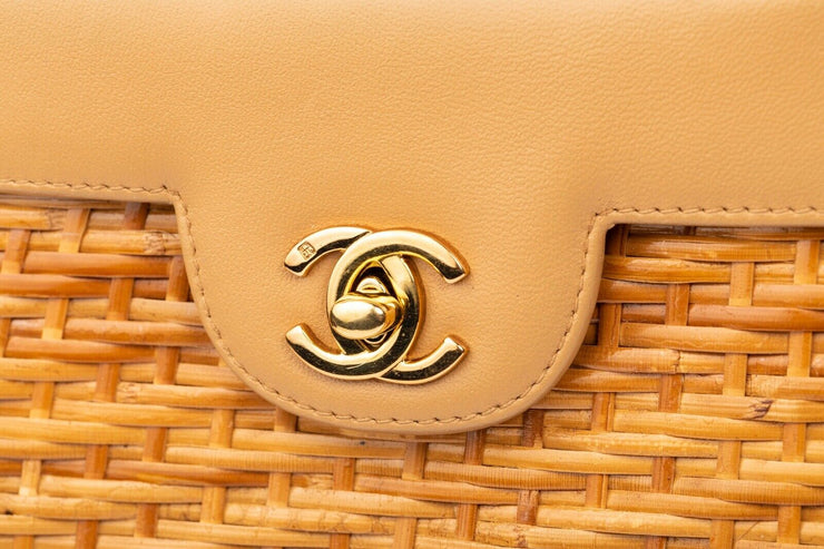 Chanel Vintage Wicker Basket Bag with Beige Lambskin
