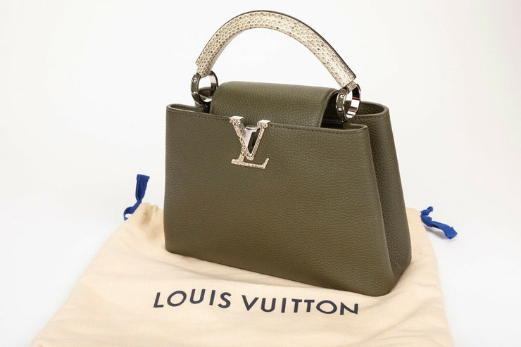 Louis Vuitton Capucines BB Green with Python Top Handle