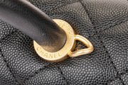 Chanel Coco Top Handle Flap Bag with Black Grained Calfskin