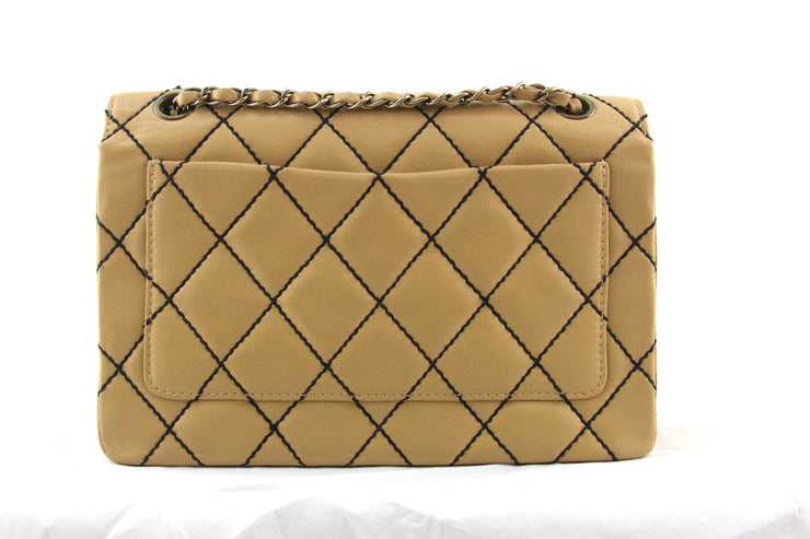 Chanel Wild Stitch Flap Bag with Beige Quilted Calfskin Leather