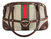 Gucci Web Reins Shoulder Bag with GG Leather Trim