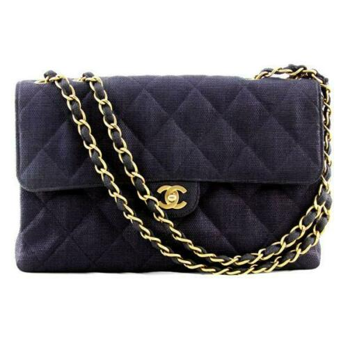 Chanel Flap Bag with Quilted Coated Navy Blue Canvas