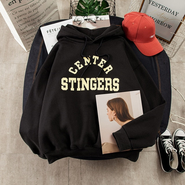 oversized center stingers hoodie - The Yellow Sock