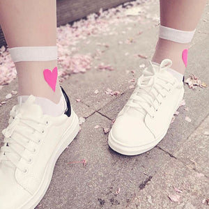 Transparent Heart Socks - The Yellow Sock