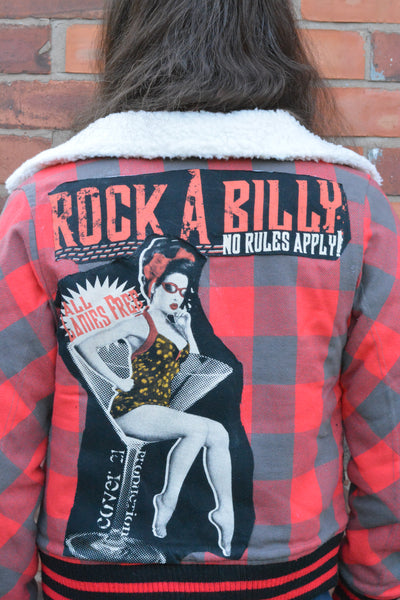 Rockabilly Patched Red Warm Bomber Jacket. Pin Up Tartan Coat. Size Small-Medium. - Cthulhu Cat Cult