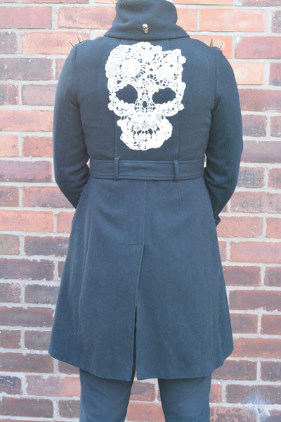 Long Navy Blue Military/Old Police Skull Coat with Skulls and Studs. Size 8-10. - Cthulhu Cat Cult