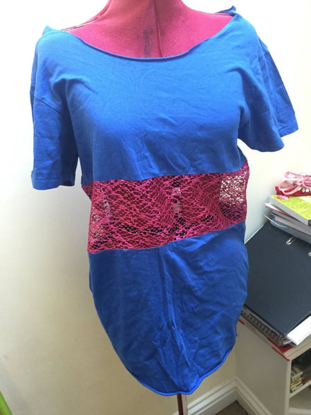 Upcycled Cut Up Blue T-Shirt with Pink Lace Panel. Shirt Dress Length. Fits a 10-14. - Cthulhu Cat Cult