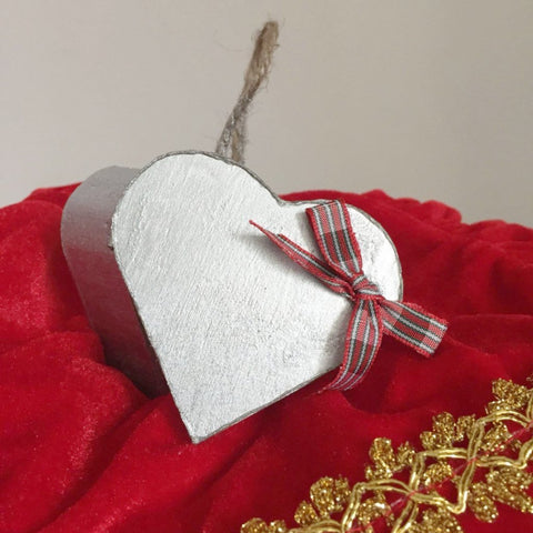 Silver Wooden Heart Shaped Box with Bow. Hanging Decoration. Christmas Decoration. - Cthulhu Cat Cult