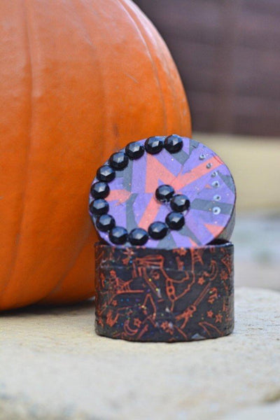 Tiny Purple and Orange Halloween Gift or Ring Box. Embellished With Black Gems and Silver Paint. - Cthulhu Cat Cult