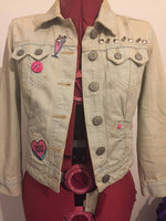 Girl Gang, Love Hate, Feminist Customised Punk Denim Jacket. Size 10. - Cthulhu Cat Cult