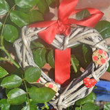 Red Wicker Heart Hanging Decoration with Buttons and Ribbon. - Cthulhu Cat Cult
