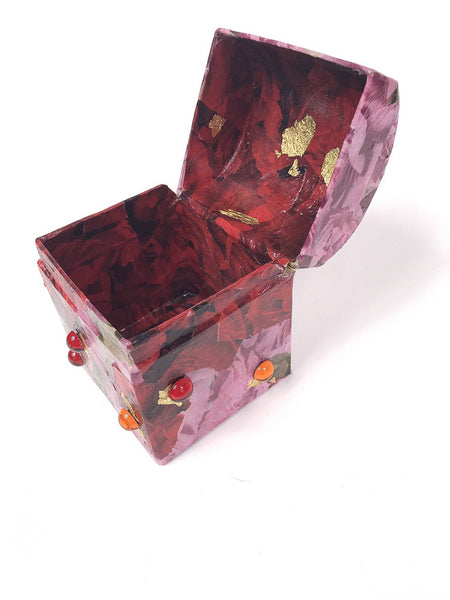 Red and Pink Hand Made Vintage Style Decoupage Box with Gold Leaf and Gems. Small. - Cthulhu Cat Cult