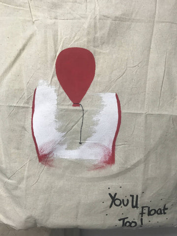 You'll Float Too IT Themed Painted Canvas Tote Bag. Halloween Pennywise the Clown Bag. - Cthulhu Cat Cult